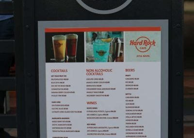 Hard Rock Caffe menu stand
